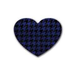 Houndstooth1 Black Marble & Blue Leather Rubber Coaster (heart)