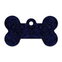 DMS2 BK-MRBL BL-LTHR (R) Dog Tag Bone (Two Sides)