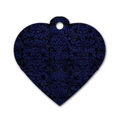 DMS2 BK-MRBL BL-LTHR Dog Tag Heart (One Side)
