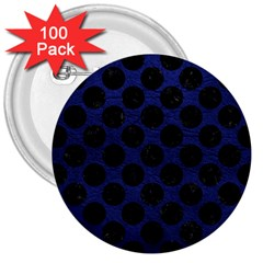 Circles2 Black Marble & Blue Leather (r) 3  Button (100 Pack)