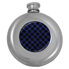 CIR2 BK-MRBL BL-LTHR (R) Round Hip Flask (5 oz)