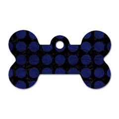 CIR1 BK-MRBL BL-LTHR Dog Tag Bone (One Side)