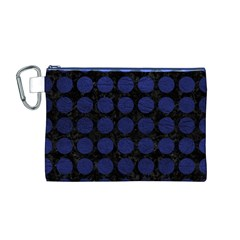 CIR1 BK-MRBL BL-LTHR Canvas Cosmetic Bag (M)