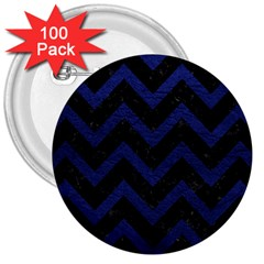 Chevron9 Black Marble & Blue Leather 3  Button (100 Pack)