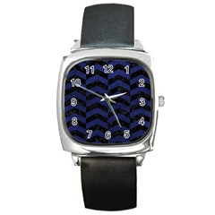 CHV2 BK-MRBL BL-LTHR Square Metal Watch
