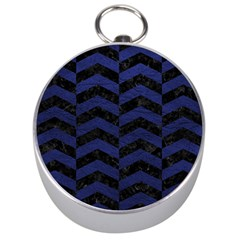 Chevron2 Black Marble & Blue Leather Silver Compass