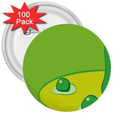 Food Egg Minimalist Yellow Green 3  Buttons (100 pack)