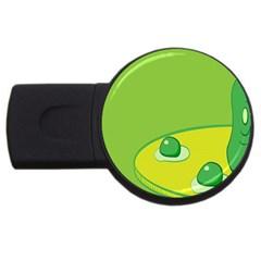 Food Egg Minimalist Yellow Green USB Flash Drive Round (1 GB)