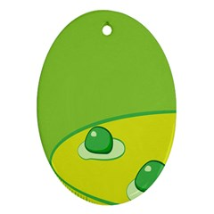 Food Egg Minimalist Yellow Green Oval Ornament (Two Sides)