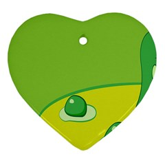 Food Egg Minimalist Yellow Green Heart Ornament (Two Sides)