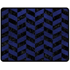 Chevron1 Black Marble & Blue Leather Fleece Blanket (medium)