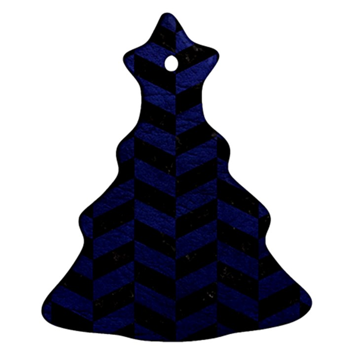 CHEVRON1 BLACK MARBLE & BLUE LEATHER Ornament (Christmas Tree)