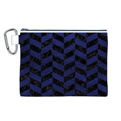 CHV1 BK-MRBL BL-LTHR Canvas Cosmetic Bag (L)
