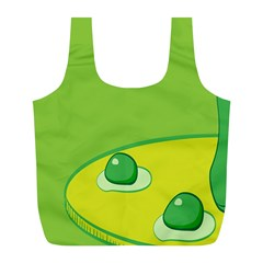 Food Egg Minimalist Yellow Green Full Print Recycle Bags (L)