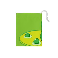 Food Egg Minimalist Yellow Green Drawstring Pouches (small)