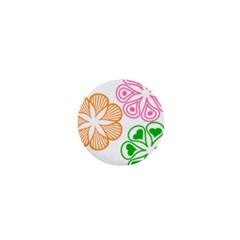 Flower Floral Love Valentine Star Pink Orange Green 1  Mini Buttons