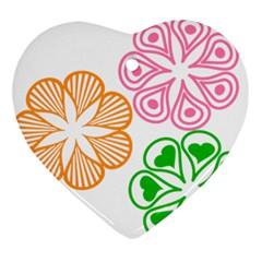 Flower Floral Love Valentine Star Pink Orange Green Ornament (heart)