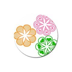 Flower Floral Love Valentine Star Pink Orange Green Magnet 3  (Round)
