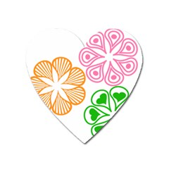 Flower Floral Love Valentine Star Pink Orange Green Heart Magnet
