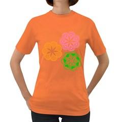 Flower Floral Love Valentine Star Pink Orange Green Women s Dark T Shirt