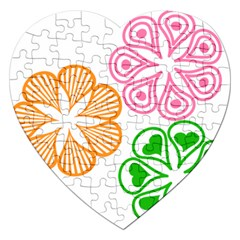 Flower Floral Love Valentine Star Pink Orange Green Jigsaw Puzzle (Heart)