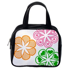 Flower Floral Love Valentine Star Pink Orange Green Classic Handbags (One Side)