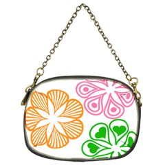 Flower Floral Love Valentine Star Pink Orange Green Chain Purses (one Side)