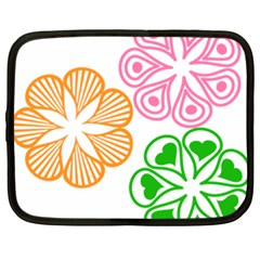 Flower Floral Love Valentine Star Pink Orange Green Netbook Case (XXL)