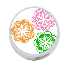 Flower Floral Love Valentine Star Pink Orange Green 4-Port USB Hub (Two Sides)