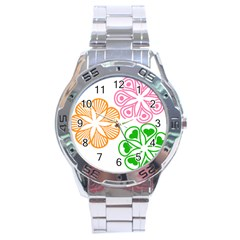 Flower Floral Love Valentine Star Pink Orange Green Stainless Steel Analogue Watch