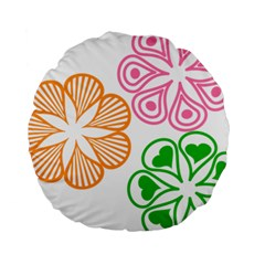 Flower Floral Love Valentine Star Pink Orange Green Standard 15  Premium Round Cushions