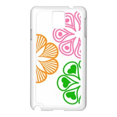 Flower Floral Love Valentine Star Pink Orange Green Samsung Galaxy Note 3 N9005 Case (White)