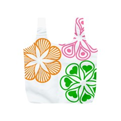 Flower Floral Love Valentine Star Pink Orange Green Full Print Recycle Bags (S)