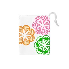 Flower Floral Love Valentine Star Pink Orange Green Drawstring Pouches (Small)