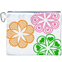 Flower Floral Love Valentine Star Pink Orange Green Canvas Cosmetic Bag (XXXL)