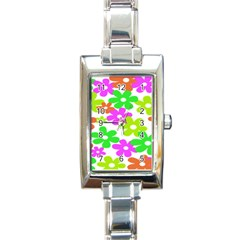 Flowers Floral Sunflower Rainbow Color Pink Orange Green Yellow Rectangle Italian Charm Watch