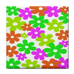 Flowers Floral Sunflower Rainbow Color Pink Orange Green Yellow Tile Coasters