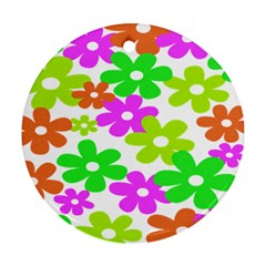 Flowers Floral Sunflower Rainbow Color Pink Orange Green Yellow Ornament (Round)