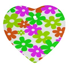 Flowers Floral Sunflower Rainbow Color Pink Orange Green Yellow Ornament (heart)