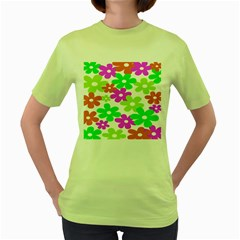 Flowers Floral Sunflower Rainbow Color Pink Orange Green Yellow Women s Green T Shirt