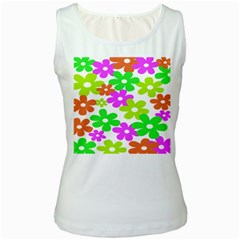 Flowers Floral Sunflower Rainbow Color Pink Orange Green Yellow Women s White Tank Top