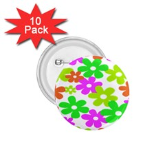 Flowers Floral Sunflower Rainbow Color Pink Orange Green Yellow 1.75  Buttons (10 pack)