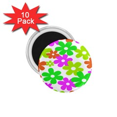 Flowers Floral Sunflower Rainbow Color Pink Orange Green Yellow 1 75  Magnets (10 Pack)
