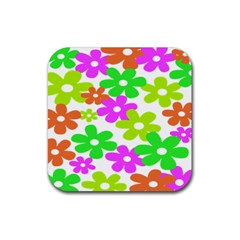 Flowers Floral Sunflower Rainbow Color Pink Orange Green Yellow Rubber Square Coaster (4 pack)