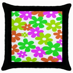 Flowers Floral Sunflower Rainbow Color Pink Orange Green Yellow Throw Pillow Case (Black)