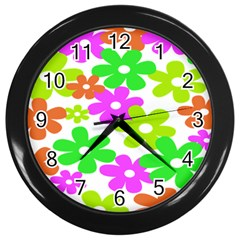 Flowers Floral Sunflower Rainbow Color Pink Orange Green Yellow Wall Clocks (Black)