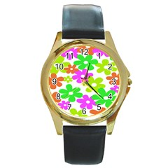 Flowers Floral Sunflower Rainbow Color Pink Orange Green Yellow Round Gold Metal Watch