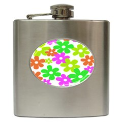 Flowers Floral Sunflower Rainbow Color Pink Orange Green Yellow Hip Flask (6 Oz)