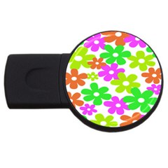 Flowers Floral Sunflower Rainbow Color Pink Orange Green Yellow Usb Flash Drive Round (2 Gb)