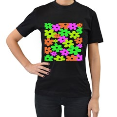 Flowers Floral Sunflower Rainbow Color Pink Orange Green Yellow Women s T-Shirt (Black) (Two Sided)